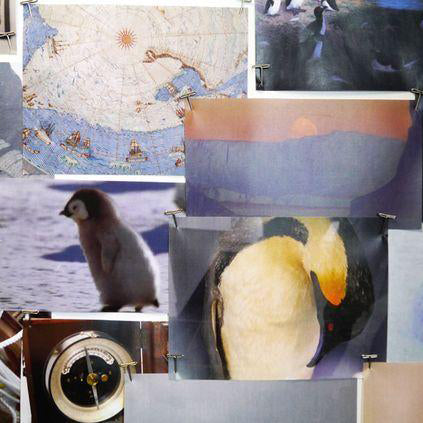 Details from Emma J Shipley's Expedition moodboards give a little insight into the fantastical worlds which inspired the classic hand drawn design. A visit to the Polar Museum in Cambridge inspired key details, including the huge explorer's balloon heading through the midnight sky