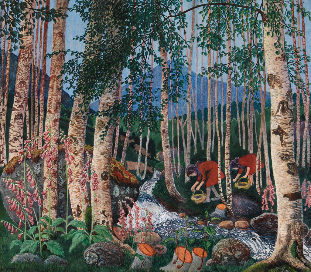 Nikolai Astrup, 'Foxgloves', 1925. Colour woodcut on paper. Photo copyright of A. Ivarsøy