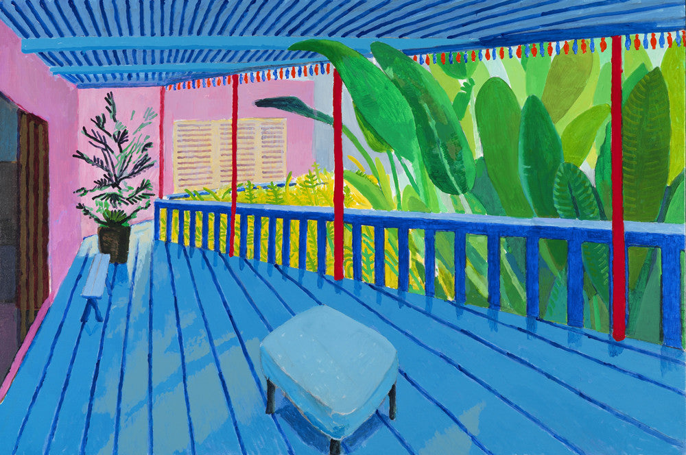 """Garden with Blue Terrace"" from 2015 was one of our highlights from the exhibit - a bold, bring and expressive acrylic painting on canvas"