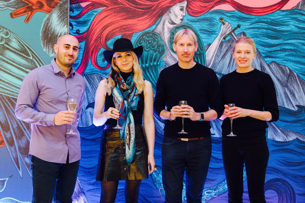 The creators of Scarfi - Emma posing with Matthew Drinkwater and Katri Salminen from the Fashion Innovation Agency, and Alexandros Neophytou from Meshmerise.