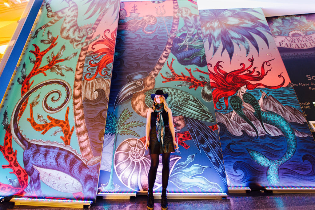 The launch of Emma J Shipley Scarfi at Westfield London included a large scale Sirens design