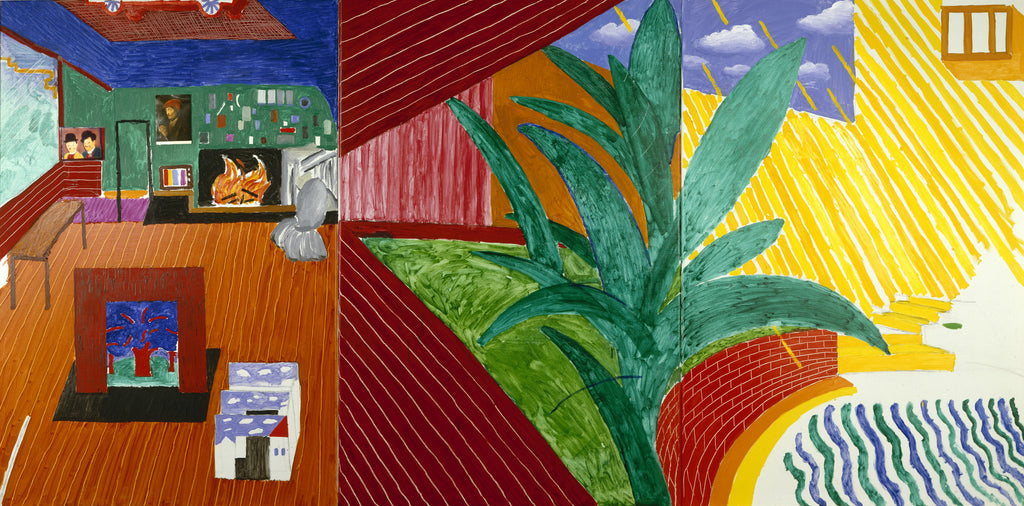 """Hollywood Hills House"" from 1980 exemplifies Hockney's playful and subversive method of painting."