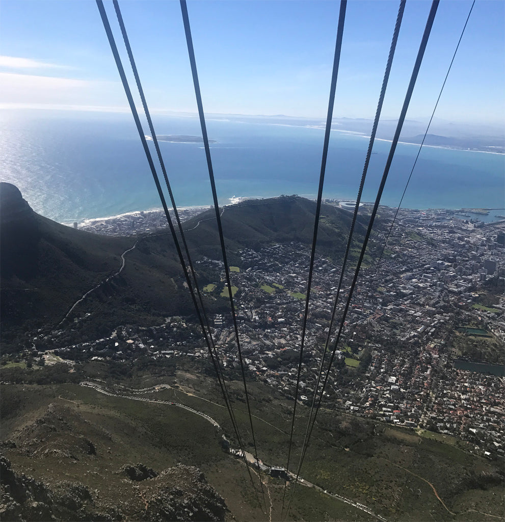 Taking the cablecar to the top of Table Mountain
