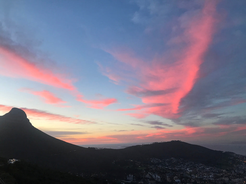 The sun sets on Cape Town