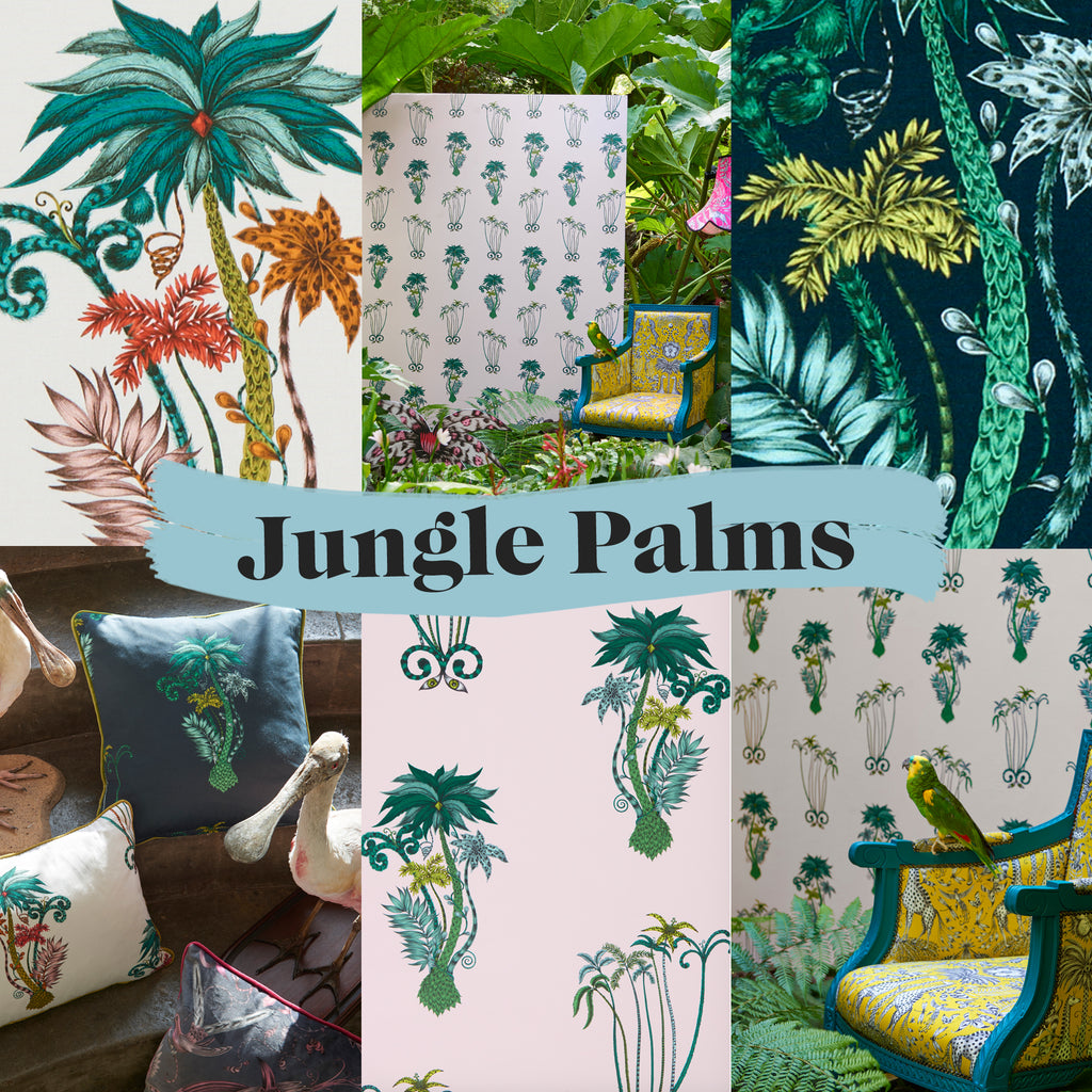 Exciting sneak peeks of our Animalia wallpaper and fabrics in the Jungle Palms design...