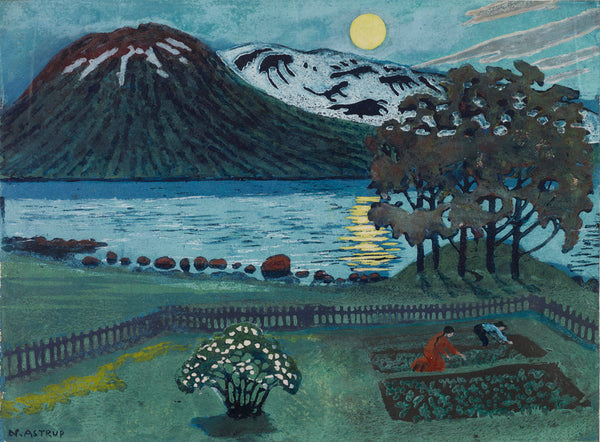 Left: Nikolai Astrup, 'Moon in May', 1908. Colour woodcut on paper. Right: Nikolai Astrup, 'A Night in June in the Garden', 1909. Colour woodcut on paper.