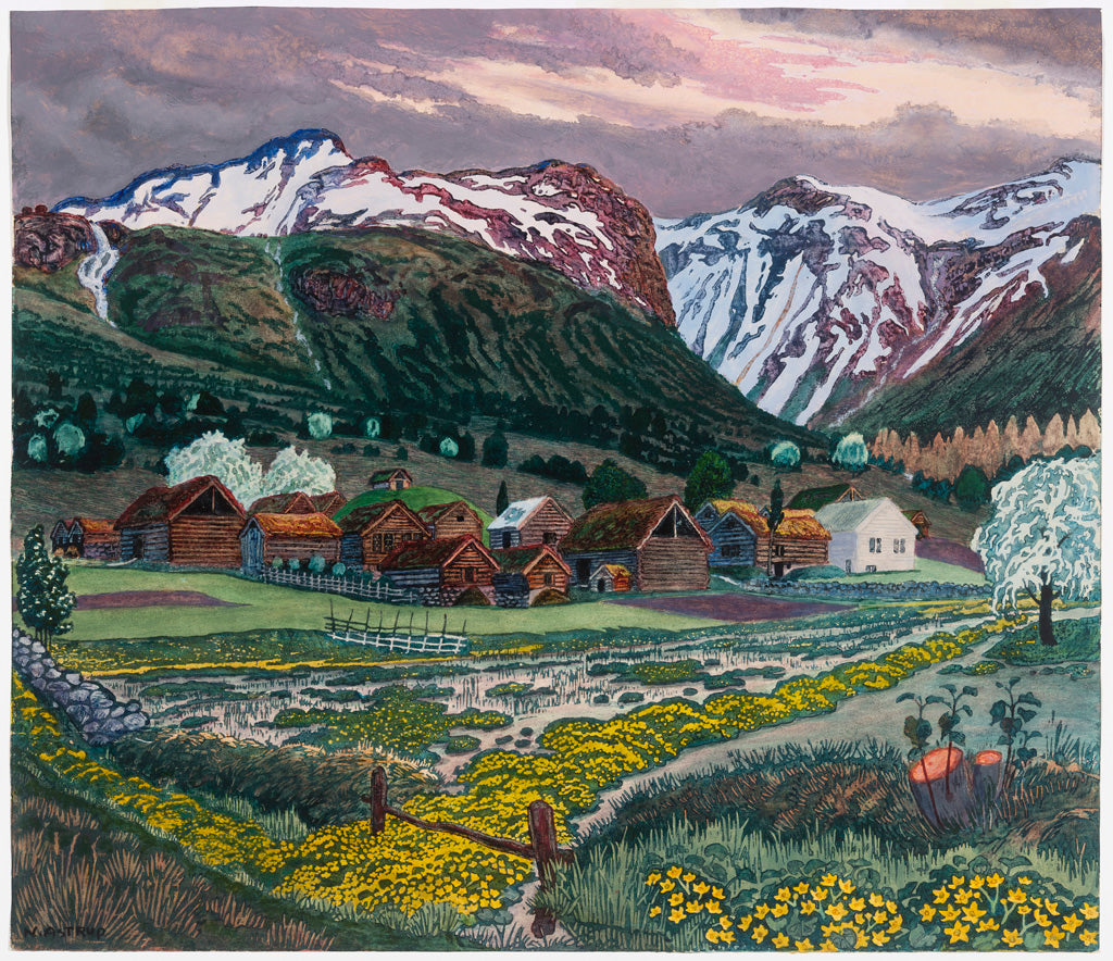 Nikolai Astrup, 'Marsh Marigold Night', c.1915. Colour woodcut on paper. Photo copyright Dag Fosse / KODE