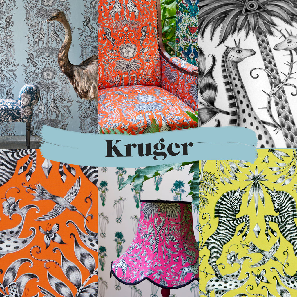 Enjoy these exclusive preview images of our Kruger wallpaper and fabric along with some sneak peaks of our fantastical campaign imagery