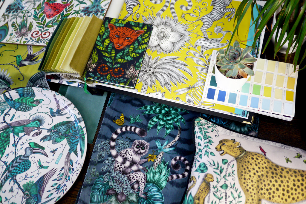This homeware scheme is brimming with jungle charm and exotic style. Combine signature designs from Emma J Shipley to create an animalistic design theme in your home