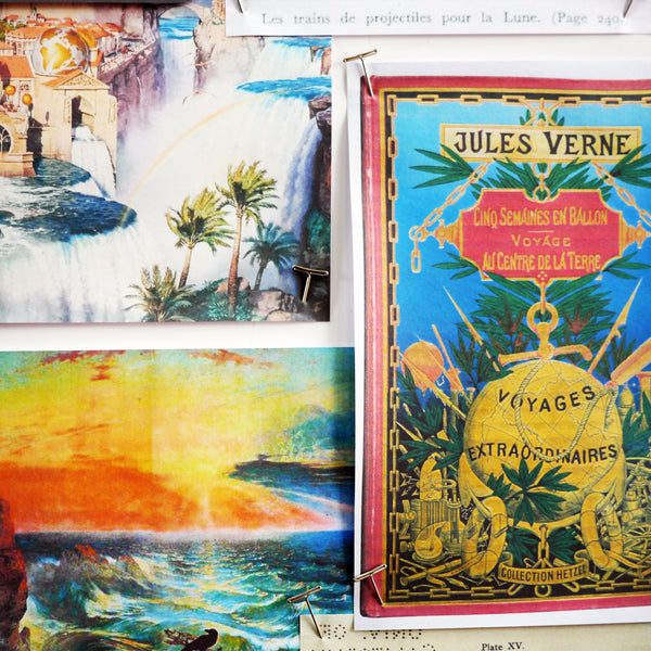 Images from Jules Verne's adventure stories were a key focal point in Emma J Shipley's original Lost World moodboards. The 1925 film The Lost World provided inspiration not only in the form of mighty dinosaurs, but also the beautiful landscape