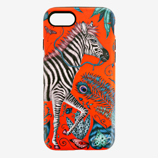Vibrant phone cases designed by Emma J Shipley: the Lost World Phone Case and the Caspian Phone Case featuring magical creatures in tropical worlds