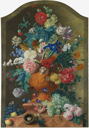 Left: 'Flowers in a Terracotta Vase', 1736 by Jan van Huysum. Oil on canvas. Copyright The National Gallery, London.  Right: 'A Still Life of Flowers in a Wan-Li Vase on a Ledge with further Flowers, Shells and a Butterfly', 1609-10 by Ambrosius Bosschaert the Elder. Oil on copper. Copyright The National Gallery, London