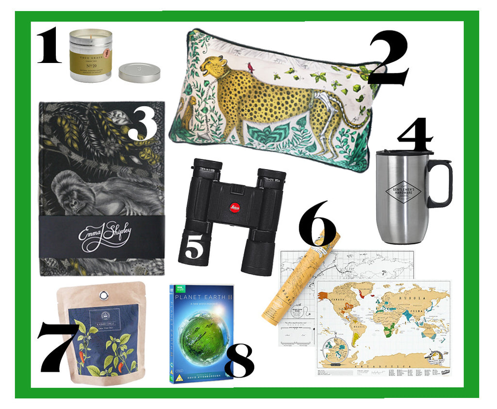 Gift inspiration for the nature loving man, including Lecia binoculars, Planet Earth II and an Emma J Shipley Silverback Silk Notebook - ideal for jotting down thoughts or sketching on the go.