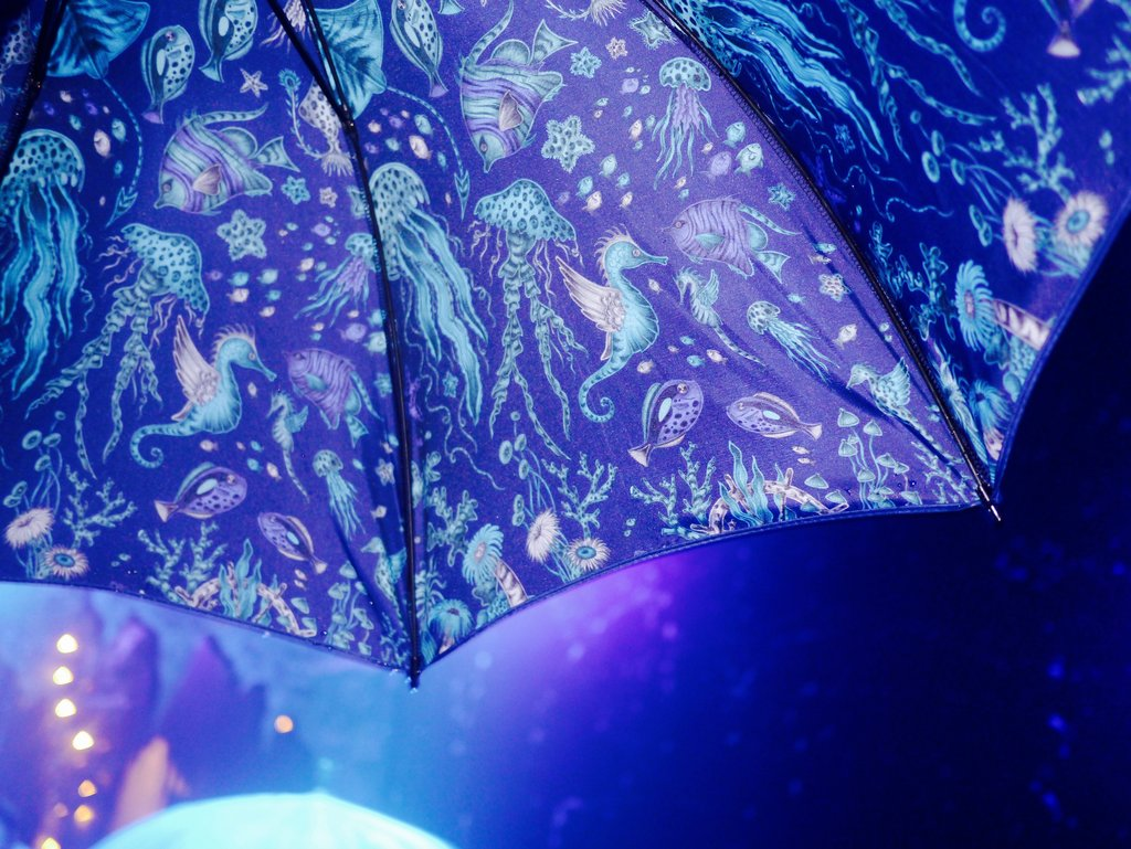 The upcoming Neptune design was printed onto the underside of the umbrellas - making shielding yourself from the waterfall even more exciting!