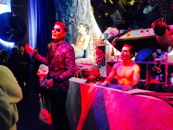Left: Underwater characters and musical mermen were a highlight of the experience. Right: Each guest is given two tokens to exchange for drinks at the bar - result!