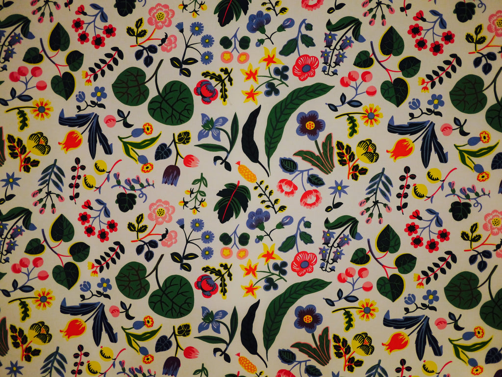 "Josef Frank's ""Mille Fleurs"" from 1940, depicting thousands of flowers originating from French tapestries."