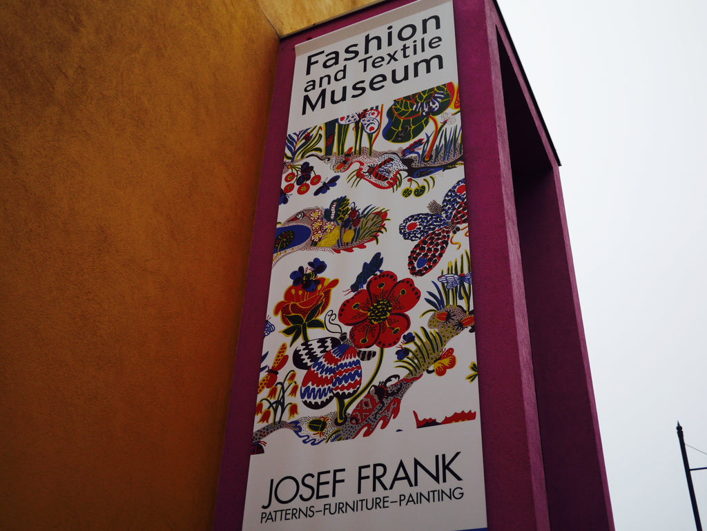 The main entrance to the Josef Frank exhibition from outside of the Fashion and Textiles Museum.