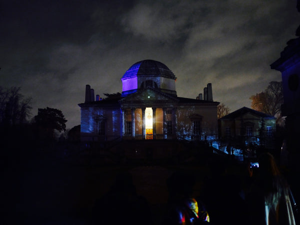 Left: The stunning Chiswick House looked otherworldly amongst the dramatic sky. Right: The first beautifully lit lantern sculpture that we came across.