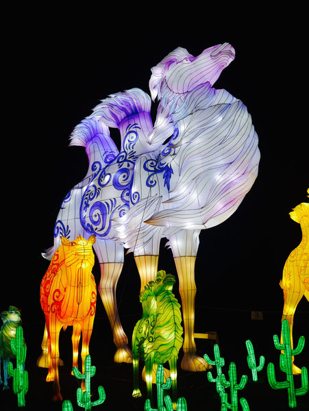 Left and right: The vibrant colours on the camel and panda lanterns were a sight for sore eyes!