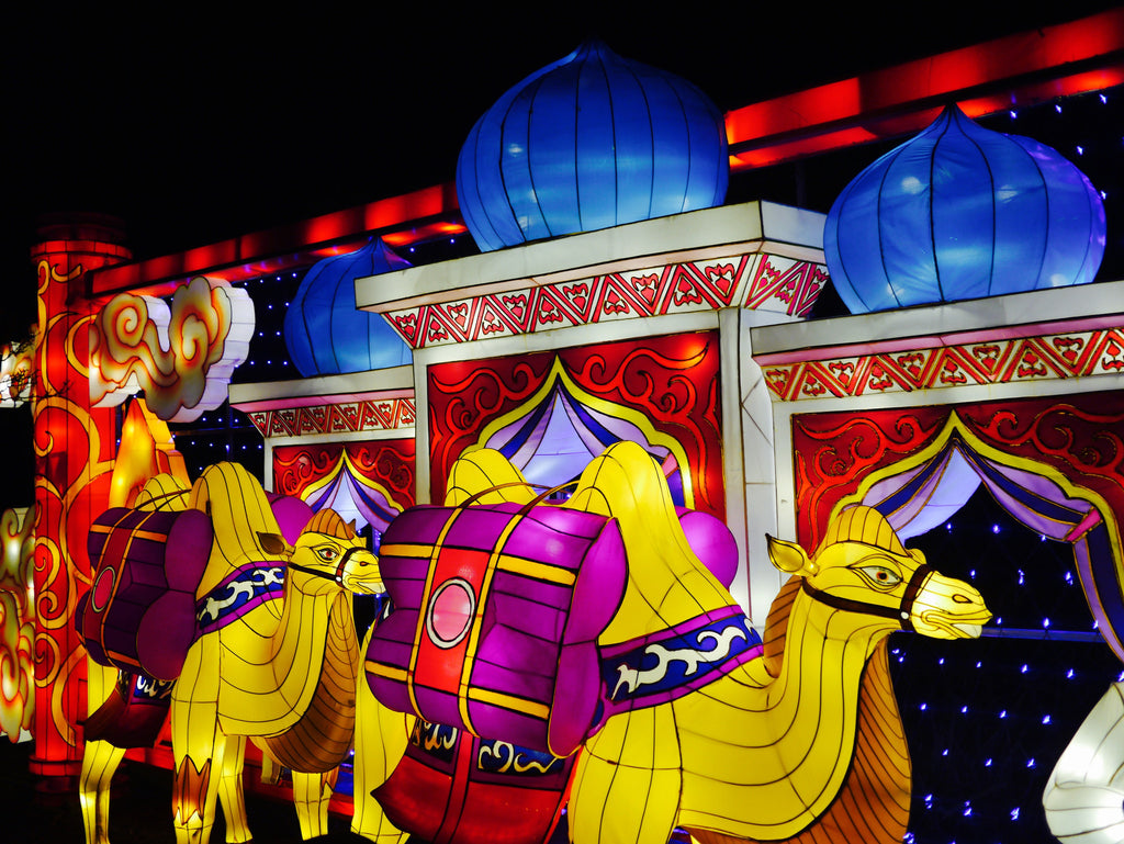 The vibrantly lit camel lanterns helped to tell the guests the history of the Silk Road.