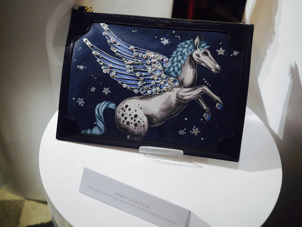 Left and right: The original Pegasus Clutch and Trunk have been upgraded for this coming season, with the addition of some sparkles by artist Annie Newman.