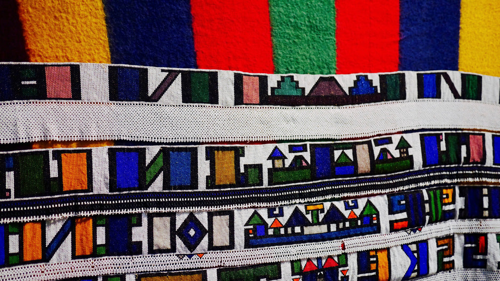 Irari / Marriage blanket, in glass beads on woolen blanket, by an unknown Ndebele artist, circa 1960