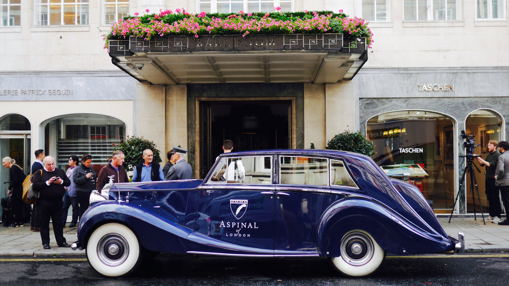 The vintage Aspinal car was a delightful sight, parked outside Claridge's Hotel.