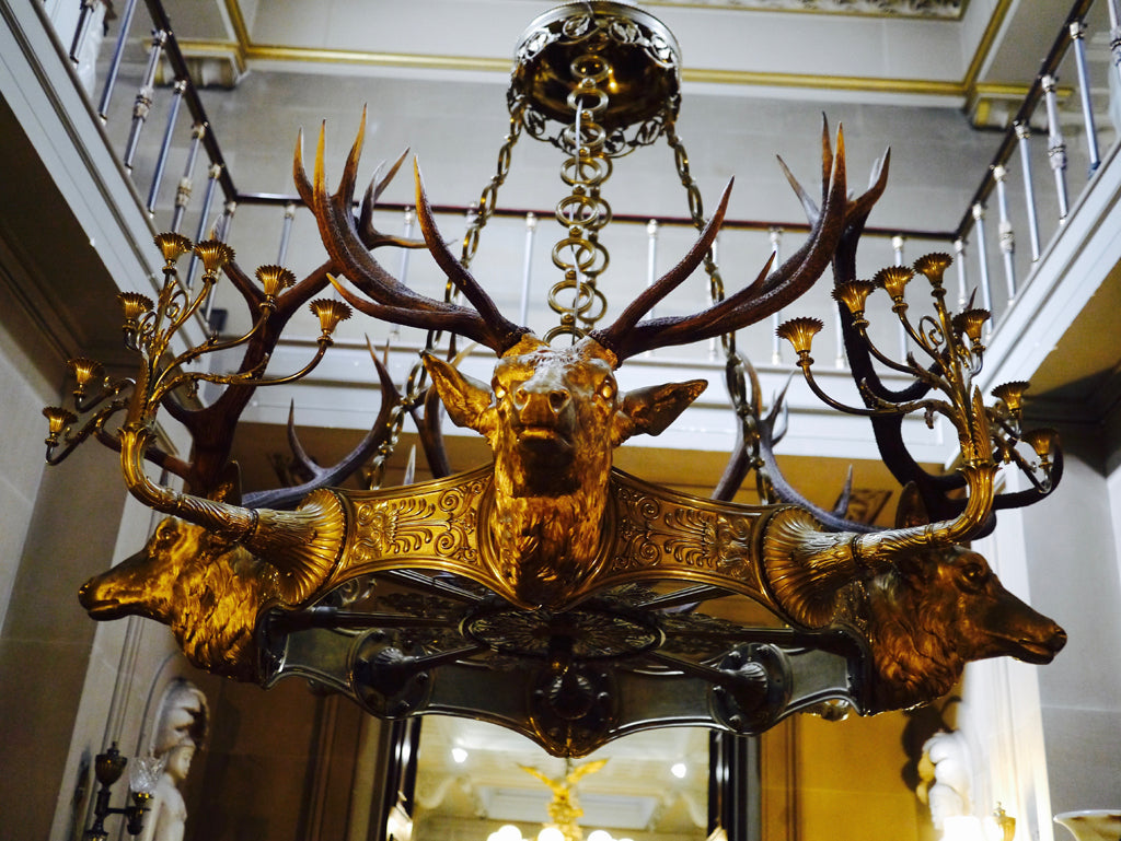 Gold plated stag head candelabra at Chatsworth House