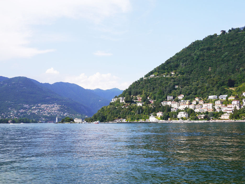 The stunning views over Lake Como, a stone's throw from our scarf factory in the hills.