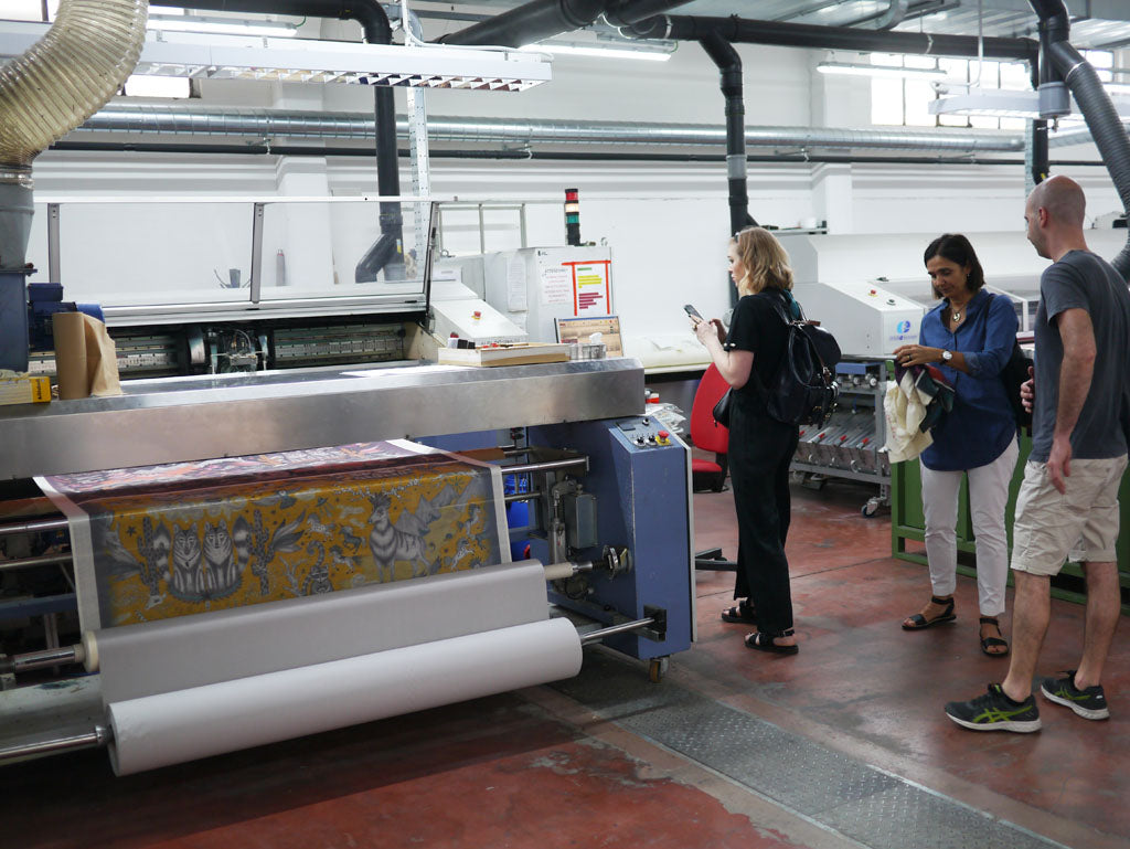 Arriving into the hi-tech print facility to see our Wild West design in production!