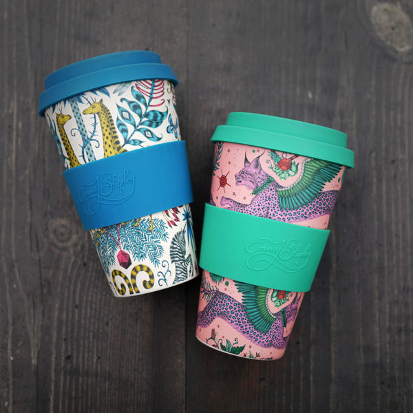 Left: The Emma J Shipley Ecoffee cups in Kruger and Lynx designs. Right: Zambezi and Lost World sustainable Coffee Cups