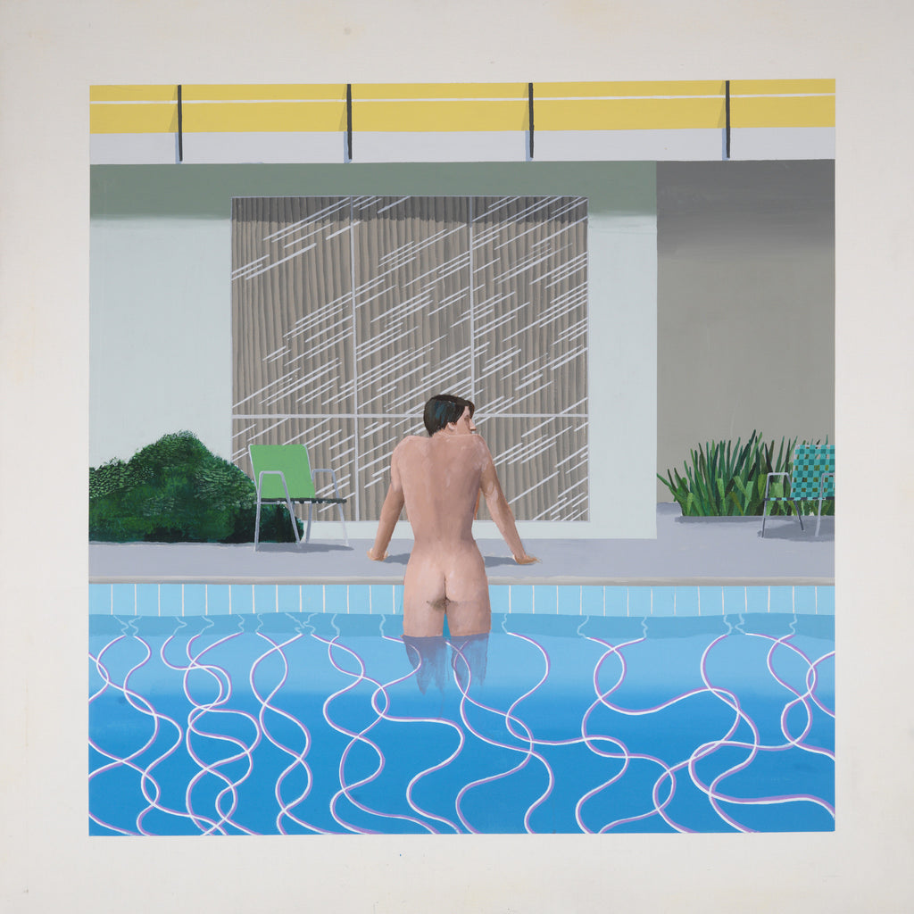 """Peter Getting Out of Nick's Pool"" from 1966 highlights Hockney's swimming-pool-obsession throughout his extensive career."