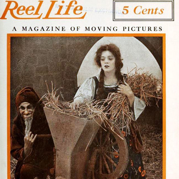 "Left: A still from the American film Rumpelstiltskin (1915) used on the cover of the May 1, 1915 Reel Life magazine. Right: ""Gold from Straw,"" illustration by Anne Anderson (1878-1930)."