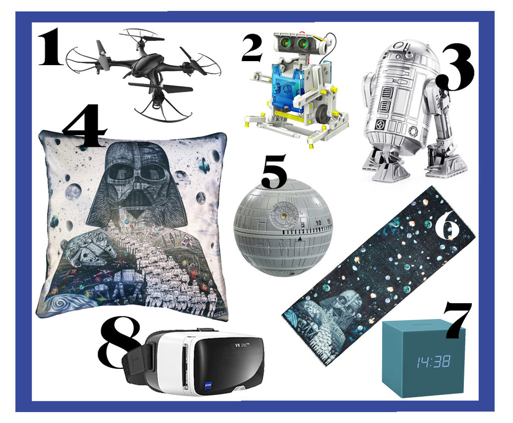 Gift ideas that are out of this world for the sci-fi loving male, including a variety of Star Wars merchandise such as the Emma J Shipley Vader Cushion and Vader Long Wool Scarf.