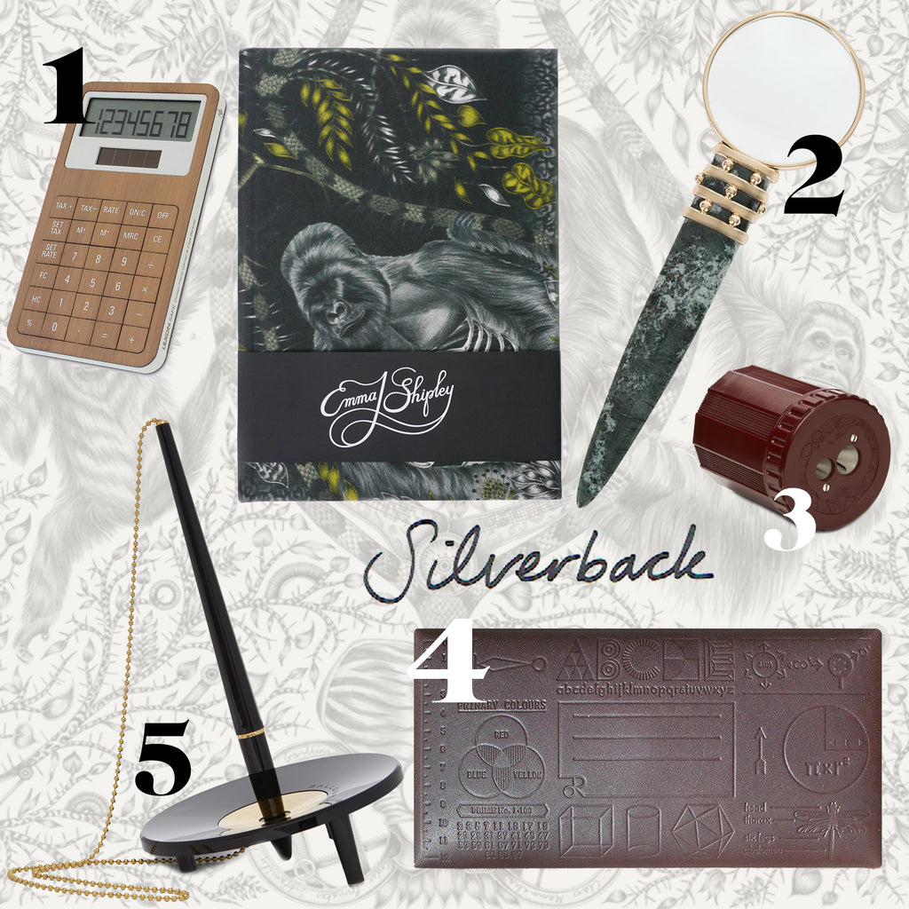 The Emma J Shipley Silverback notebook pairs perfectly with intellectual and considered desk accessories.
