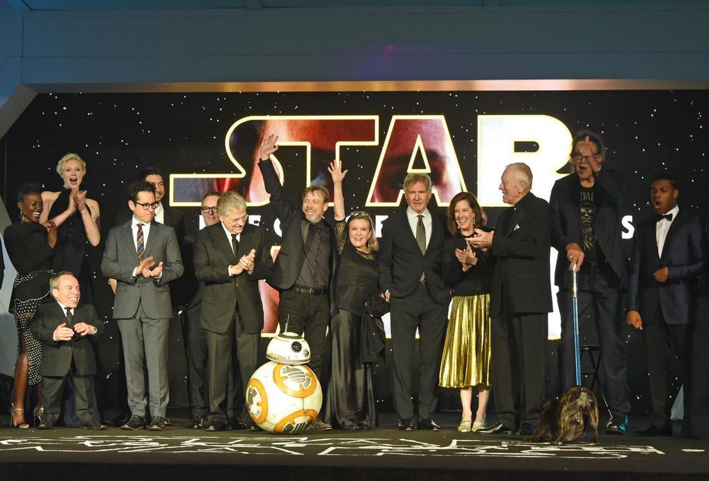 The cast of The Force Awakens on stage at the London premiere. Credit: The Independent