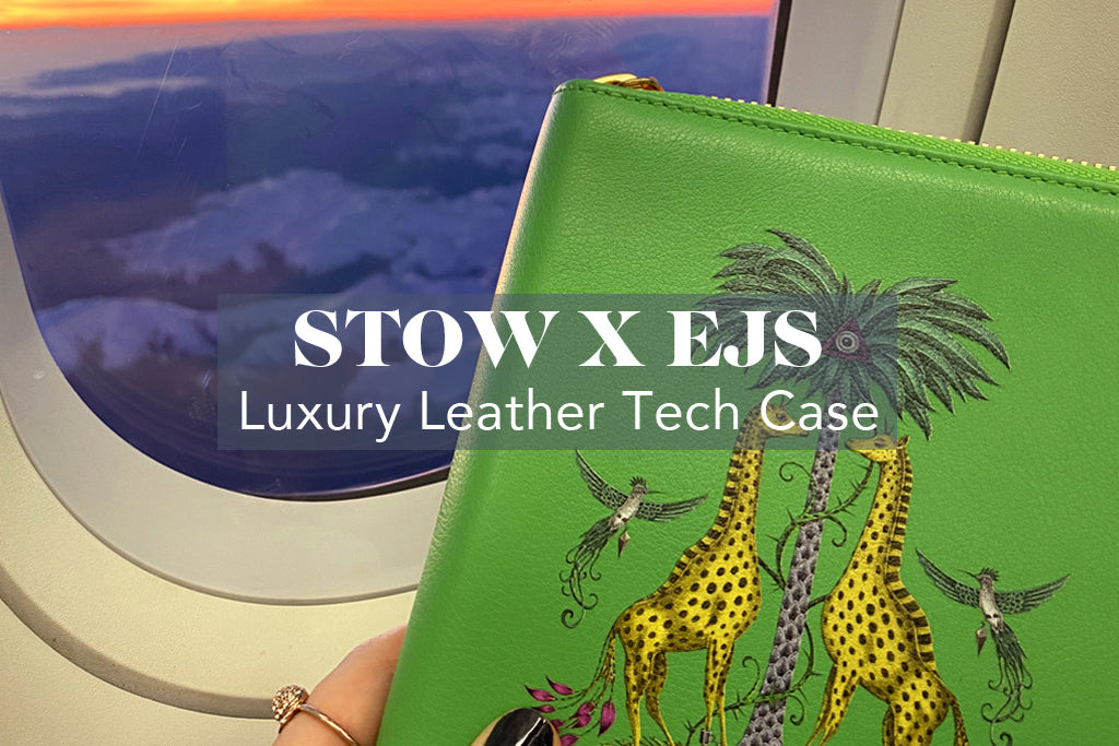 STOW X Emma J Shipley Kruger Mini Leather Tech Case and passport holder featuring our magical hand-drawn Kruger design is the luxury travel accessory used by the likes of Meghan Markle