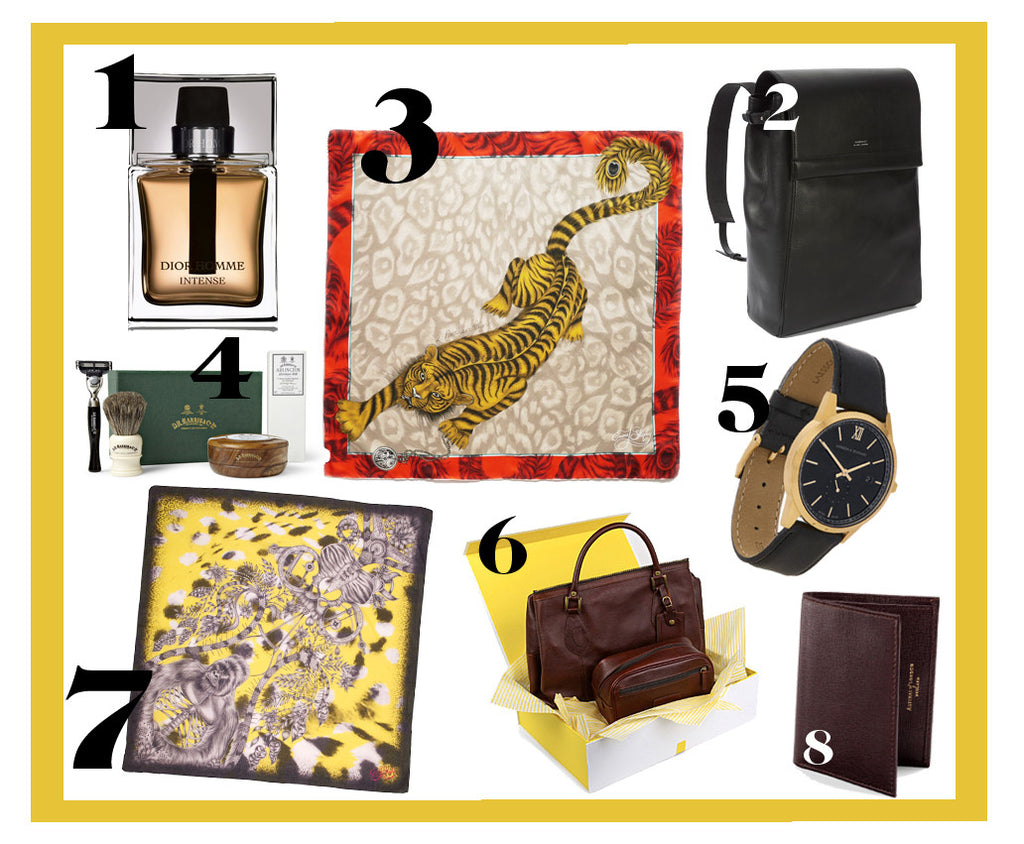 Father's Day gift ideas for the stylish gentleman, featuring Dior Homme Fragrance, Aspinal of London leather wallets and Emma J Shipley imaginative silk neckerchiefs.