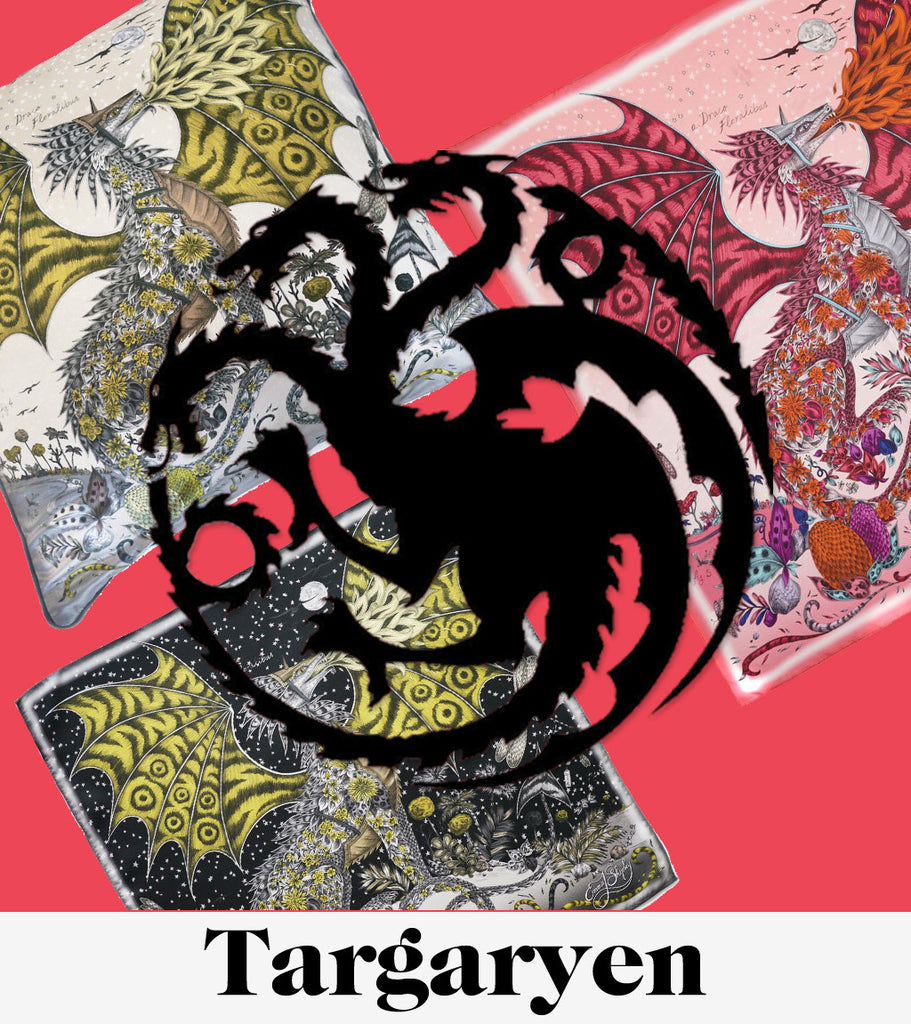 Targaryen Dragon scarves and cushions by luxury designer and illustrator Emma J Shipley.