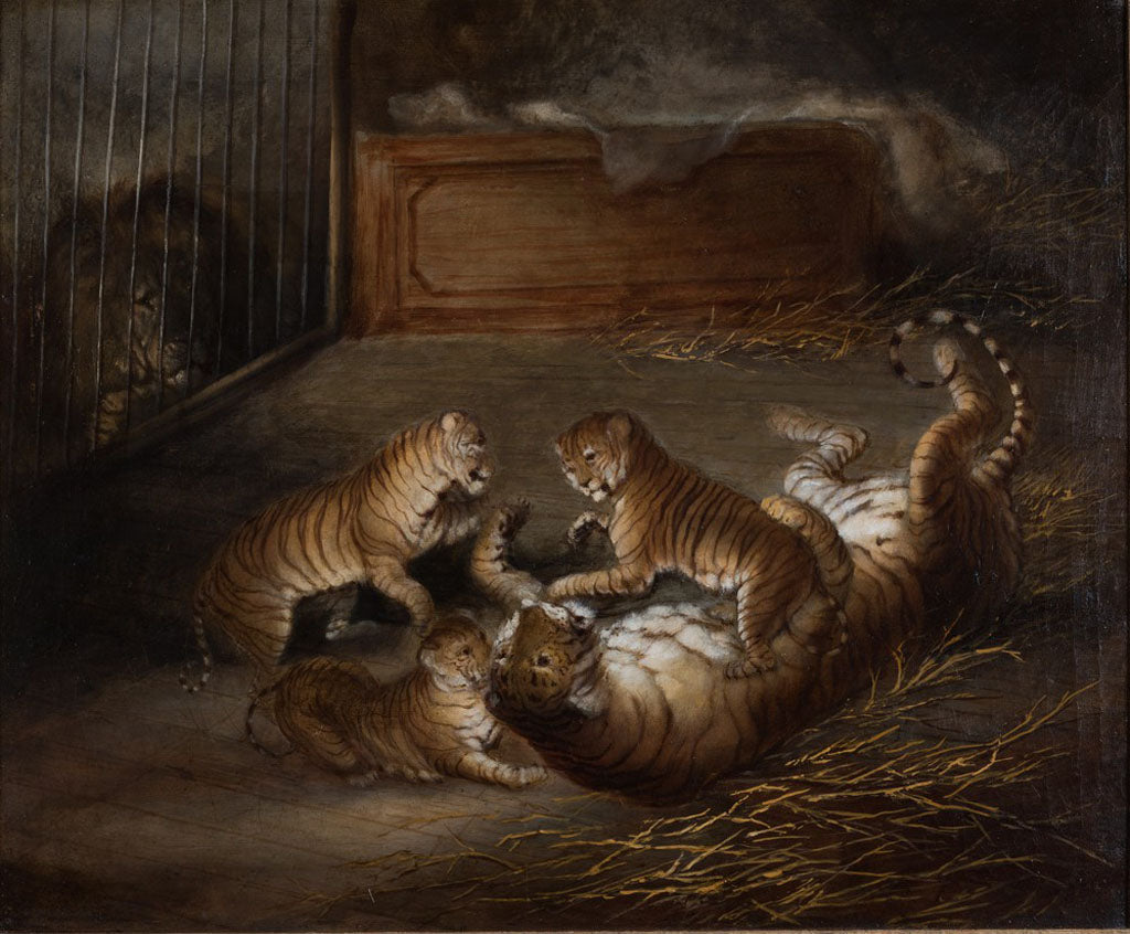 Three 'liger' cubs, bred between a lion and a tigress at Windsor Great Park in October 1824. Attributed to Richard Barrett Davis (1782-1854). Oil on canvas, c.1824-1830, collection Stephen Pavey