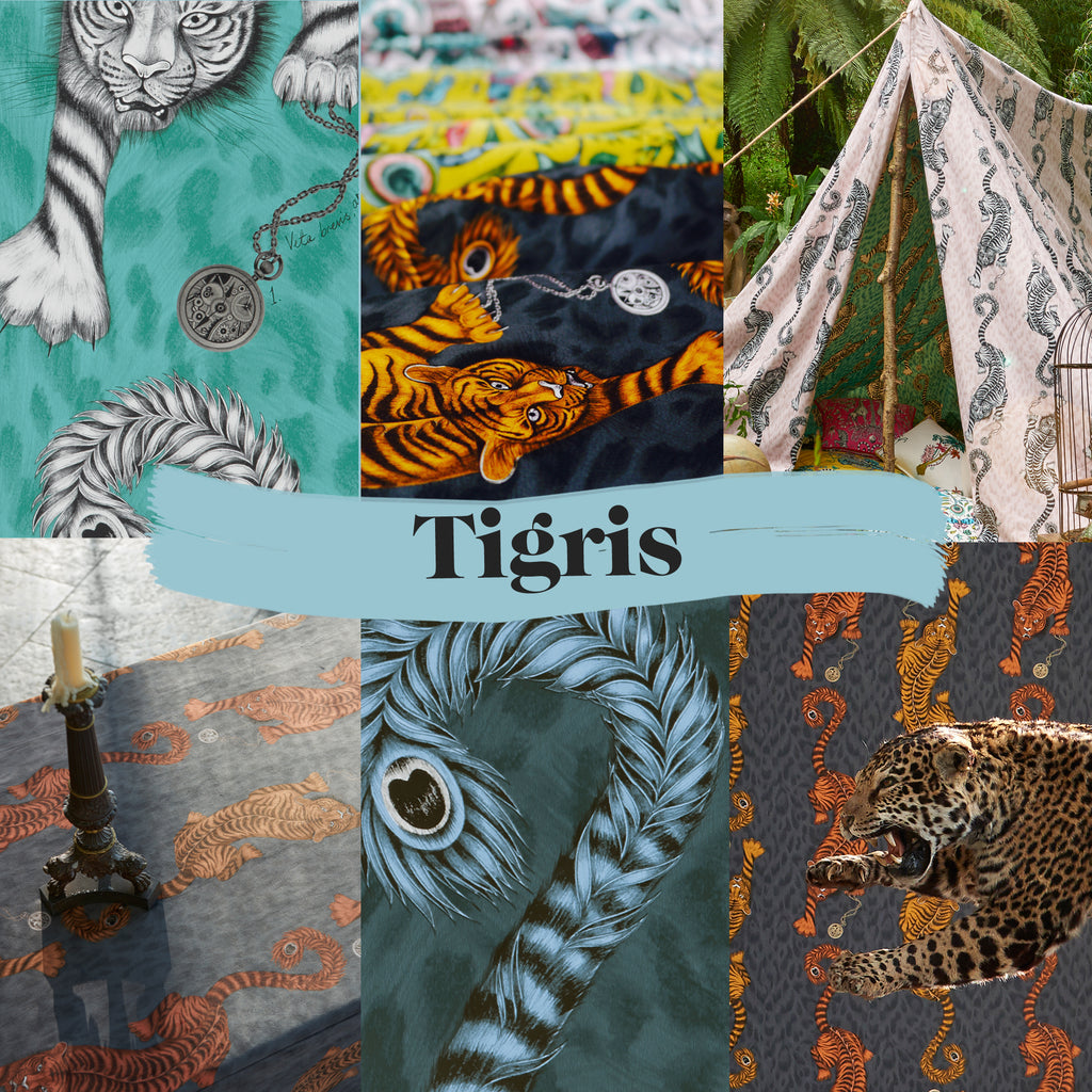 Preview of the Tigris fabric and wallpaper; details alongside campaign sneak peaks