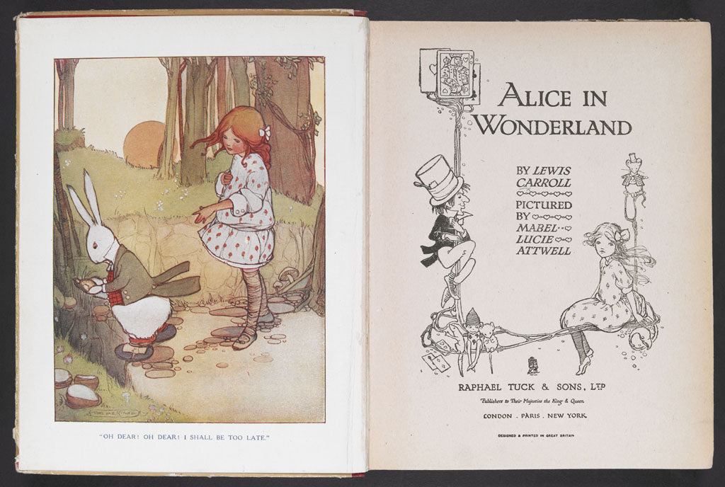 Title page of the 1910 edition of Lewis Carroll's Alice in Wonderland pictured by Mabel Lucie Attwell (c) Lucie Attwell Ltd