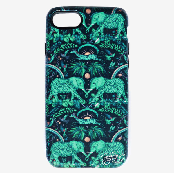 The Zambezi Phone Case (left) and Amazon Phone Case (right) feature an array of fantastical creatures created by Emma J Shipley