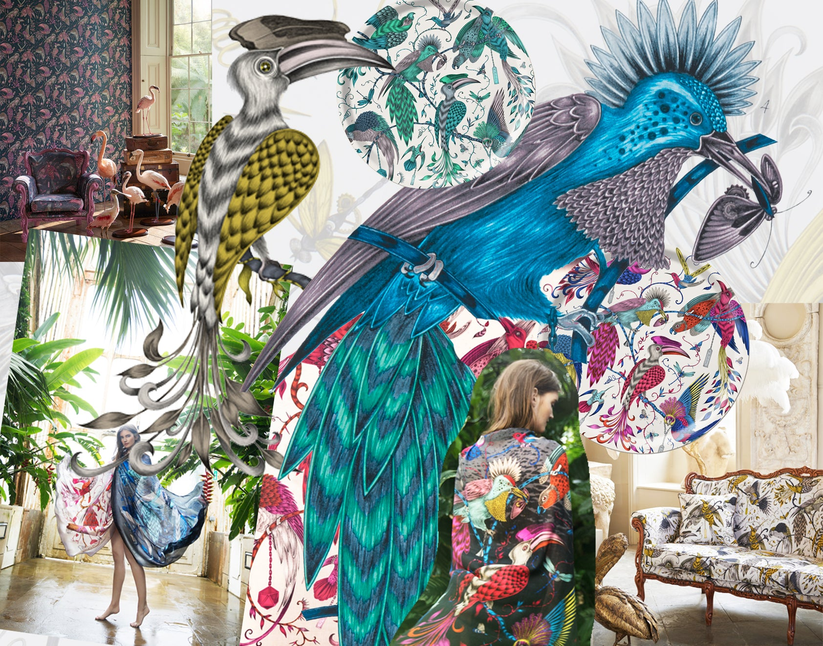 Explore some of our Audubon highlights. The design by Emma J Shipley was created in 2014 and now features across a plethora of unique pieces across our online store, such as scarves, cushions, trays, fabric and wallpaper