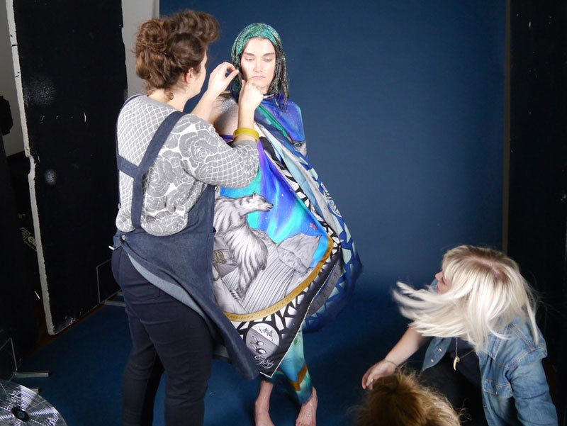emma j shipley polar collection photoshoot luxury scarf designer