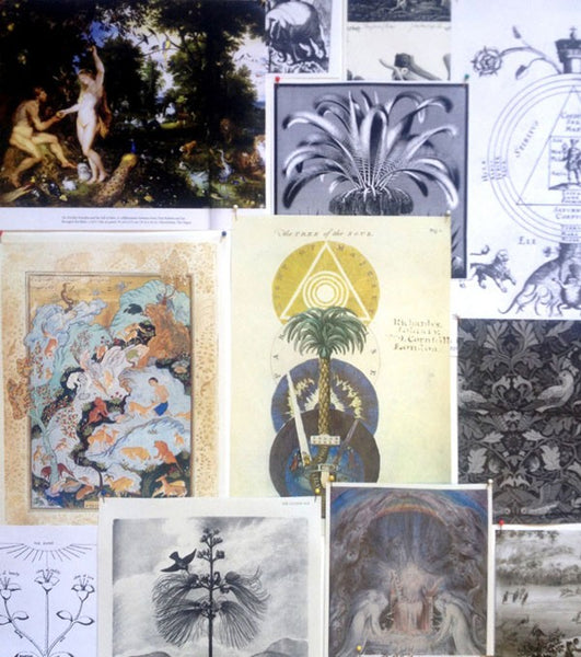 Left: The mood board used to create the Cheetah and Giraffe illustrations. Right: Charles Mahoney's painting depicting Adam and Eve was an influencing piece.