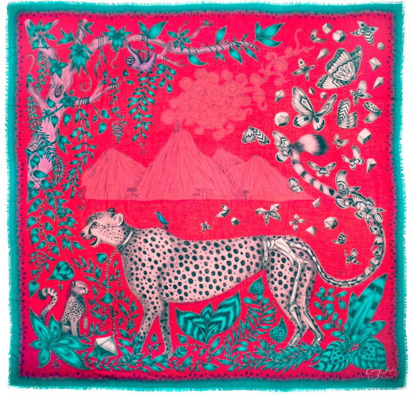 emma j shipley audubon collection cheetah modal blend scarf