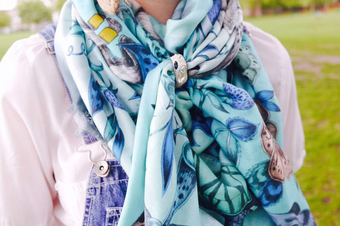 Emma J Shipley Blog Summer Scarf Styling Frith Modal Blend Scarf and Atelier Swarovski Scarf Ring