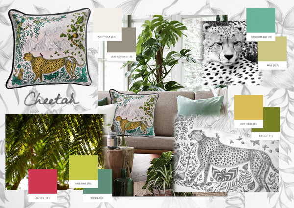 Earthy neutral tones would mimic the Cheetah cushion entirely.