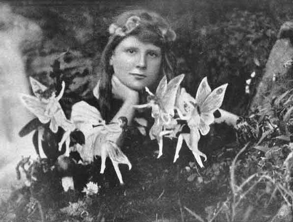 Left: One of the photographs taken of the 'Cottingley Fairies' in Victorian England. Right: A detailed section of Emma's mood board imagery